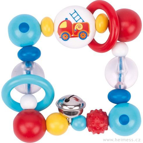 Plastová hračka doruky čtverec – hasičské auto - Heimess
