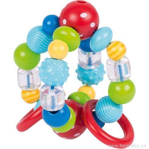 Plastové chrastítko – kulička bílé puntíky - Heimess