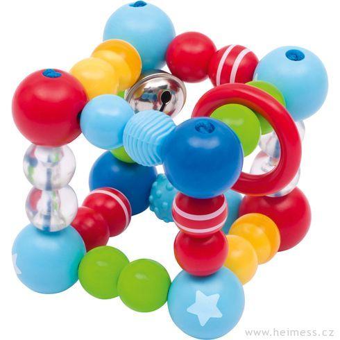 Plastové chrastítko elastická krychle – hvězdička - Heimess