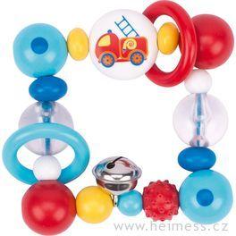 Plastová hračka doruky čtverec – hasičské auto