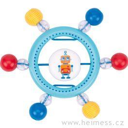 Plastové chrastítko kroužek – robot