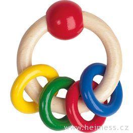 Barevný dřevěný kroužek skroužky
