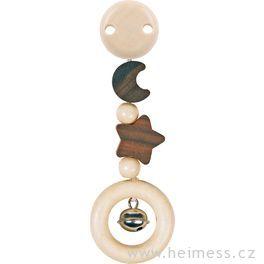 Klip hvězda aměsíc – dřevěná hračka srolničkou (Heimess nature)