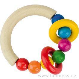 Půlkruh sdřevěnými perličkami a 2kroužky