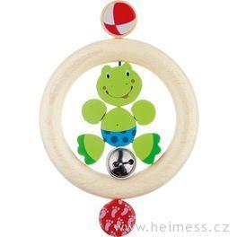 Žabka – dřevěná hračka promiminka