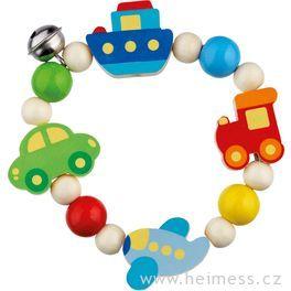 Dopravní prostředky – elastická motorická hračka promiminka, dřevěná