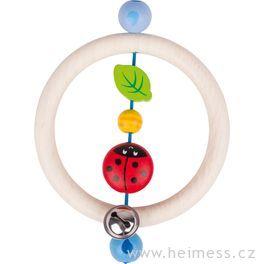 Beruška kroužek – dřevěná hračka promiminka (Heimess soft colors)