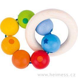 Duha dvakruhy – dřevěná hračka promiminka (Heimess soft colors)