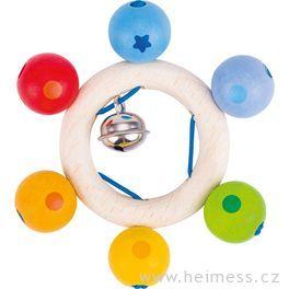 Duhové perličky – dřevěná hračka promiminka (Heimess soft colors)