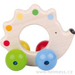 Ježek – dřevěná hračka doruky promiminka