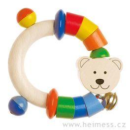 Dřevěný půlkruh doruky medvídek