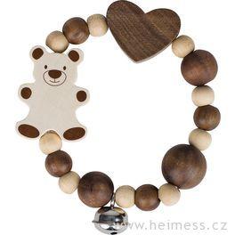 Medvídek avelké srdce – elastická hračka srolničkou (Heimess nature)