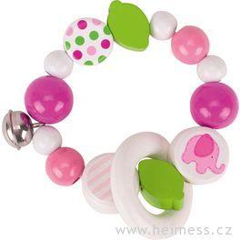 Růžové slůně – elastický kroužek srolničkou