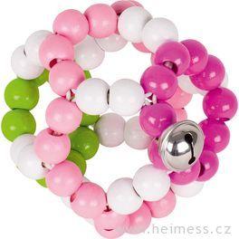 Elastický míč srolničkou, růžový